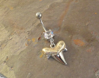 Megalodon Shark Tooth Belly Button Jewelry Ring