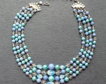 4 Strand Vintage Bead Necklace Blue