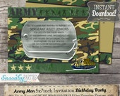 Army Men Boys Party Invitation - INSTANT DOWNLOAD - Editable & Printable Birthday Invitation by Sassaby