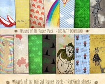 Wizard of Oz Paper Pack 14 Digital Sheets - INSTANT DOWNLOAD - Ruby Slippers, Scarecrow, Scrapbooking Card Making Birthday Party Decoration