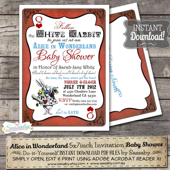 alice in wonderland baby shower invitation instant download