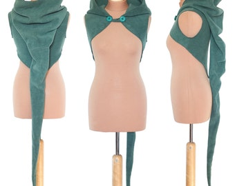 Plain Fleece 'Korrigan' Shrug- Ultimate pixie hood/Sleeveless