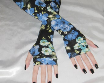 Gothic Arm Warmers Fingerless Gloves Lolita Sleeves Armwarmers Goth Glove - Azure Bouquet - flowers elegant Lolita feminine goth belly dance