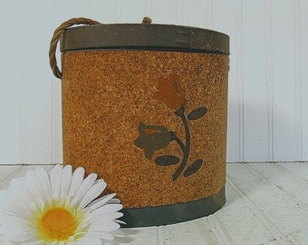 Early Oval Cork Bait Canteen - Vintage Waxed Canvas & Cardboard Carry All - Repurposing Fishing Equipment Box - Garden Floral Decorated Box
