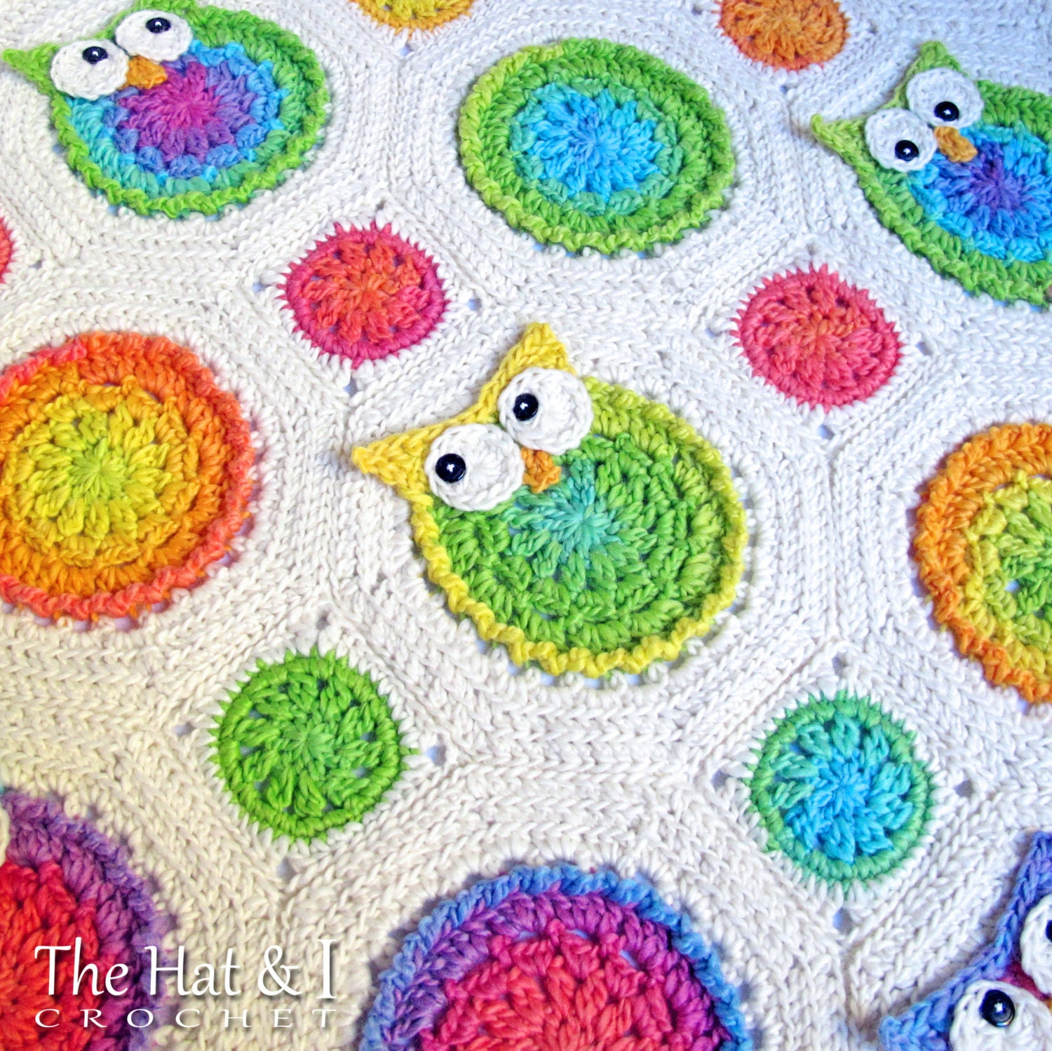 Free Crochet Pattern For Owl Baby Blanket : CROCHET PATTERN Owl Obsession a colorful owl afghan
