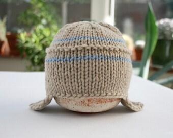 Knit Newborn Hat, Newborn Photo Prop, Baby Boy Hat, Aviator Hat, Knit Baby Hat