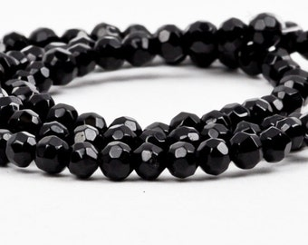 4mm Faceted BLACK ONYX Round Beads, full strand . Natural Gemstones gon0022