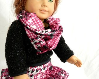 """Hot Pink Houndstooth Plaid Skirt, Infinity Scarf, Sparkly Black Sweater Outfit for 18"""" Dolls"""
