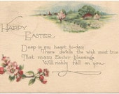 "Antique Easter Greeting Postcard ""Happy Easter"" Crab Apple Blossoms Country Cottage Scene 1924 1 Cent Washington Stamp"