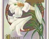 Antique Postcard Easter Lilies Cross Traditional Easter Greeting 1911 Published by LSC