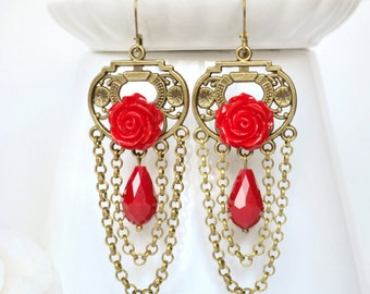 Long boho earrings red chandelier earrings red rose drop dangle earrings bohemian jewelry red victorian chain bronze boho chic earrings gift
