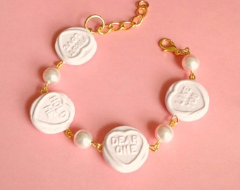 Sweet Hearts Bracelet - Kawaii, Swarovski Elements, Fairy Kei, Candy, Pastel, Pink,