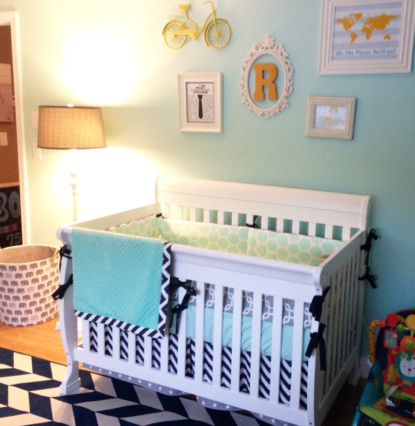 Mint Gray Navy Blue Crib Bedding Set Nursery Bedding