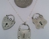 """SALE! Sterling Silver 18"""" Dainty Chain Vintage Heart Padlock/Padlock Charm Necklaces"""