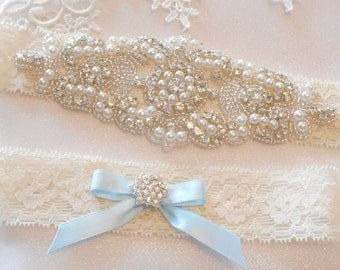 Wedding Garter Set 4 Colors Lingerie Lace Bridal Garter Set With Rhinestone Cluster