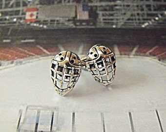 Mens Silver Cufflinks,  Hockey Goalie Mask Mens Accessories  Handmade