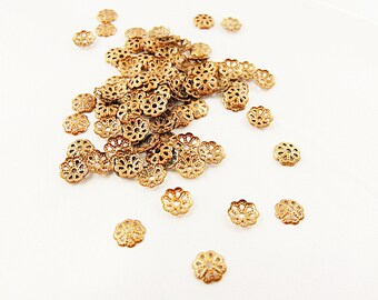 Copper Bead Caps 6mm  Lot of 100  Jewelry Making Supplies