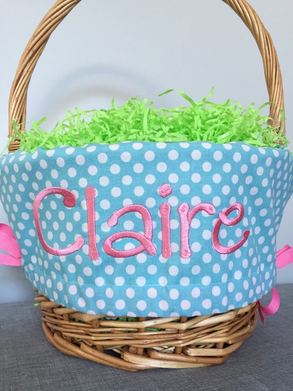 Personalized Easter Basket Liner Aqua With White Dots Easter