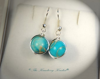Blue Variscite Gemstone Earrings, Throat Chakra Earrings, Sea Sediment Jasper Blue Earrings, Reiki healing gemstones