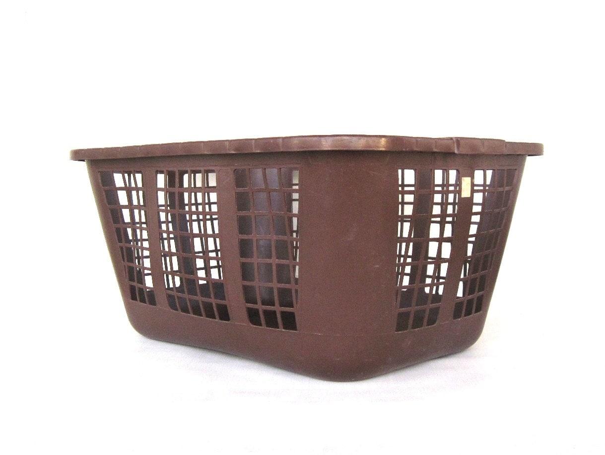 vintage laundry basket brown rubbermaid plastic 1970s decor