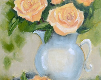 SALE Original oil painting: Roses in pitcher still life, rose painting , wall art, canvas,