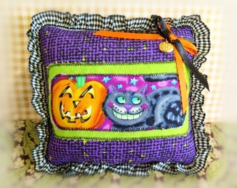 "Halloween  Pillow 6"" Pumpkin Black Cat Print  Fall Autumn Halloween Primitive Soft Sculpture Handmade CharlotteStyle Decorative Folk Art"