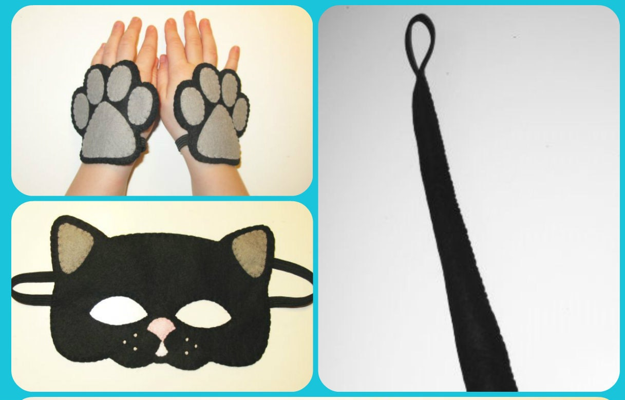 black cat felt mask tail cuffs set handmade cat costume for