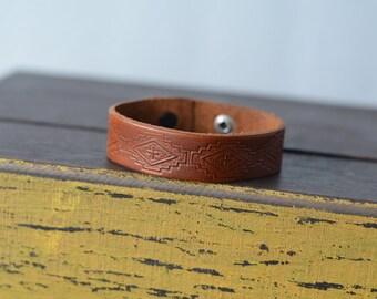 Hand Tooled Aztec Leather Bracelet