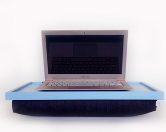 Light blue Laptop Lap Desk or Breakfast serving Tray - with black cotton Pillow - L or XL size