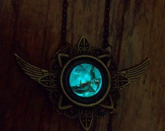 Rift - Glass and Bronze Glowing Necklace