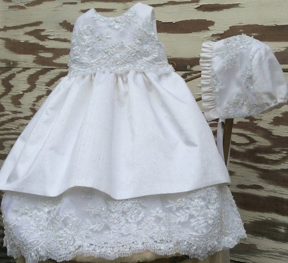 Christening silk Dress with bonnet // Infant silk Dress // Baptism Gown // Flower girl // CERES //by Elena