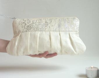 Silver wedding clutch, linen clutch, romantic sparkle, metallic clutch, bridesmaid gift, ivory white cream, bridal clutch, bridal purse