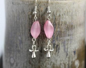 Pink Cats Eye Pacifier Earrings - Item 1626