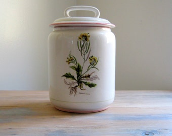 Vintage La Primula Cookie Jar, Botanical, Floral Container with Lid