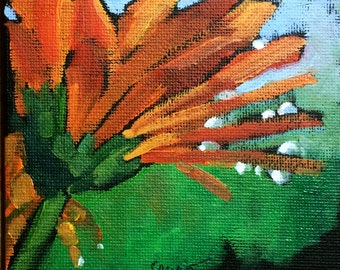 Chrysanthemum • Dew Drops •  Orange Flower • Oil Paintings • Original Art • Daily Painters • Daily Painting • Water Droplets