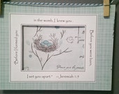 Ultrasound Frame Sonogram Frame or Mat only with Bible Verse -Mint, Aqua & Grey - BIrd's Nest and Plaid - Gender Neutral 5x7