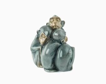 Vintage Bing and Grondahl Porcelain Figurine - Sleeping Monkeys