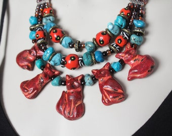 Rustic Fox Statement Necklace / Folk Art Fox Jewelry / Turquoise Stone Fox Necklace / Blue and Orange Necklace