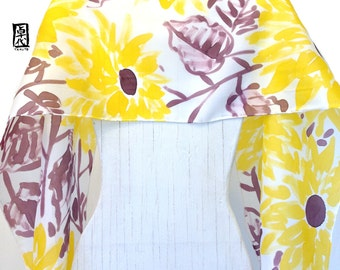 Hand Painted Large Silk Scarf, Summer Stanza, Yellow Sunflowers Scarf, Yellow Silk Scarf, 14x72 inches.