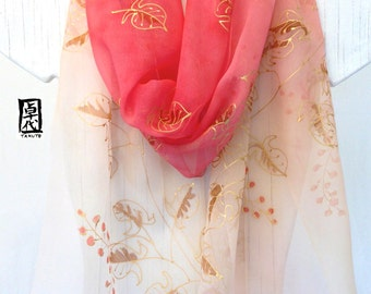 Hand Painted Silk Scarf, Silk Chiffon Scarf, Large Red Japan Scarf, Golden Swirly Vine with Red Berries Scarf, 14x72 inches. Made to order