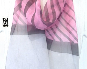 Hand Painted Silk Scarf, Pink and Gray Scarf, Zen Japanese Brown Stripes Scarf, Silk Chiffon Scarf, Silk Scarves Takuyo, 7.5x52 inches.