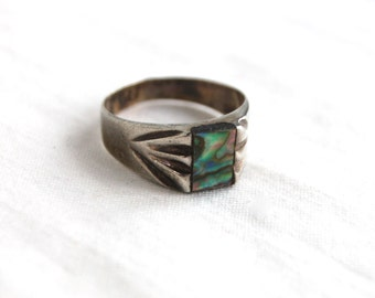 Mexican Abalone Ring Band Size 7 .75 Vintage Square Unisex Blue Green Jewelry Made in Mexico