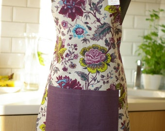 Linen Apron with Flower Pattern - Kitchen Apron - Apron with Pocket - Valentine's Day Gift Idea