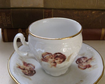 Bernadotte Demitasse Czech Republic China Cup and Saucer Angels Cherubs
