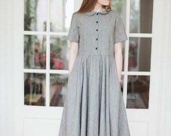 Linen Dress, Classic Dress, Peter Pan Collar Dress, Elegant Dress, Vintage Dress