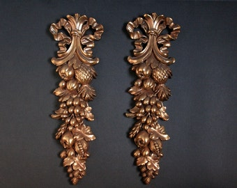 Gold wall plaques, Syroco wood fruit wall plaques, gilded fruit wall plaques