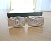 Vintage Silver Cufflinks Modern Contemporary Style Crystal Cabochon Wedding Gift