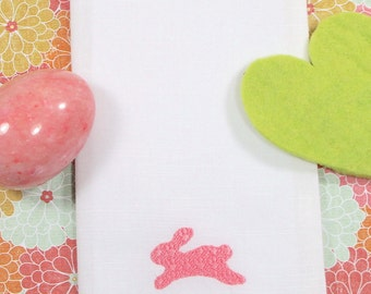 Embossed Easter Cloth Napkins, Bunny Embroidered Cloth Napkins /Set of 4/ Easter napkins, Easter cloth, Custom Easter, personalized Easter