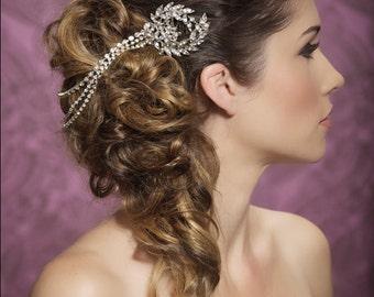 Wedding hair piece, chain headband, forehead piece, crystal chain hair accessories, bridal hair accessories, rhinestone diamonte hair piece