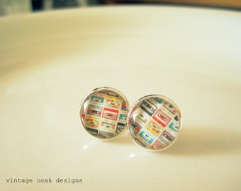 Back to the 80's Earrings, Cassette Tape Studs, 80's studs, Cassette Tape  Earrings, 80's Studs,Mothers Day, Gift for Her